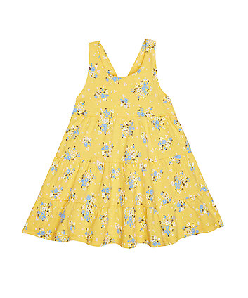 Mothercare Yellow Floral Tiered Dress