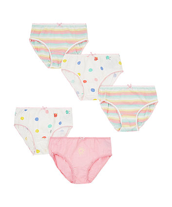 Mothercare Flower And Spot Briefs - 5 Pack