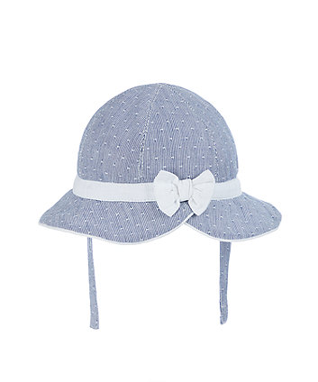 Mothercare Blue Bow Woven Stripe Sun Hat