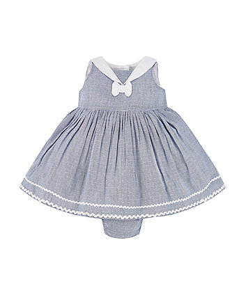 Mothercare Blue Chambray Stripe Dress And Knickers Set