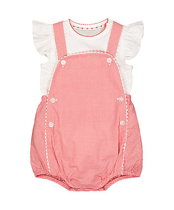 Mothercare Red Gingham Bibshorts And White Bodysuit Set