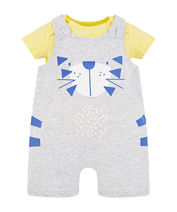 Mothercare Tiger Bibshorts And Yellow Bodysuit Set