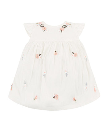 Mothercare White Flower Embroidered Dress