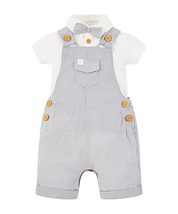 Mothercare Grey Stripe Bibshorts And Bow Bodysuit Set