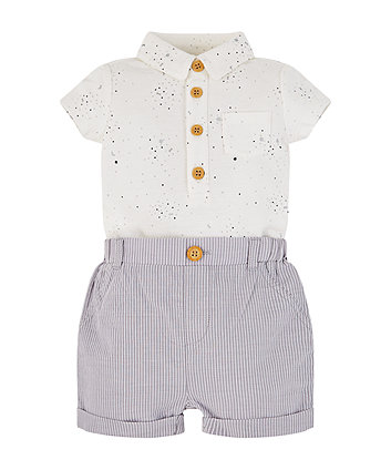 White Polo Bodysuit And Stripe Shorts Set (Size - Newborn)