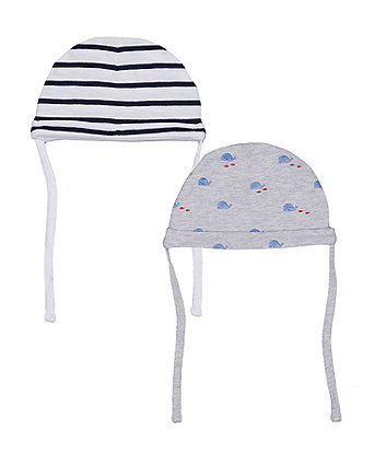 Stripe And Whale Hats - 2 Pack