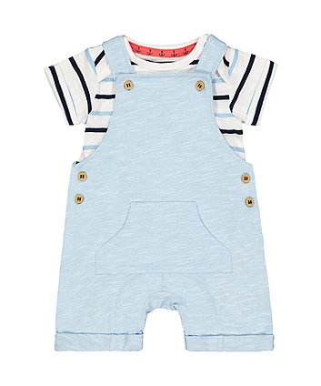 Mothercare Blue Jersey Bibshorts And Bodysuit Set