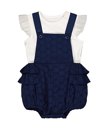 Mothercare Navy Broderie Bibshorts And Bodysuit Set