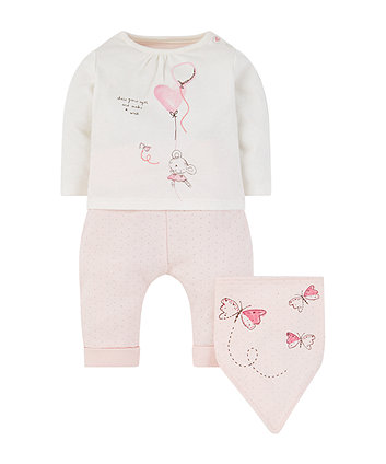 My First Little Mouse T-Shirt, Joggers And Bib Set