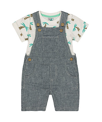 Grey Linen Bibshorts And Palm Tree T-Shirt Set