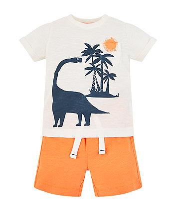 Dinosaur T-Shirt And Orange Shorts Set
