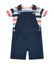 Mothercare Navy Woven Bibshorts and Stripe T-shirt Set