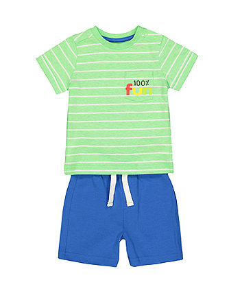 Fun Green Stripe T-Shirt And Blue Shorts Set
