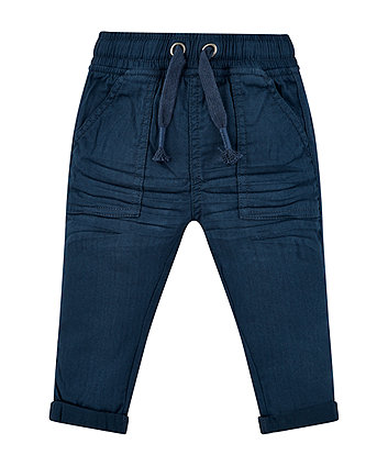 Navy Woven Trousers