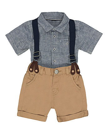 Mothercare Shirt and Shorts with Braces Set