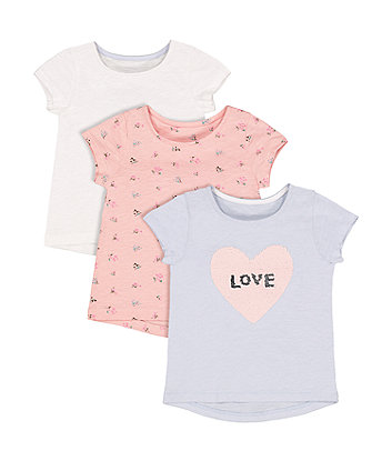 Mothercare Blue Sequin, White Heart And Floral T-Shirts – 3 Pack