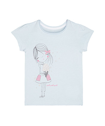 Mothercare Blue Glitter Girl And Ice Cream T-Shirt