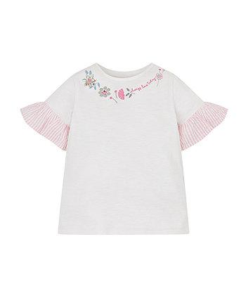 Mothercare White Woven Frill Flower T-Shirt