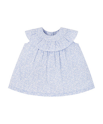 Mothercare Blue Floral Frill Blouse