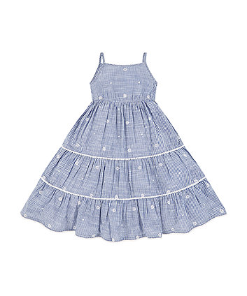 Mothercare Blue And White Flower Embroidery Stripe Maxi Dress