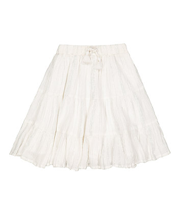 Mothercare White Crêpe Tiered Skirt