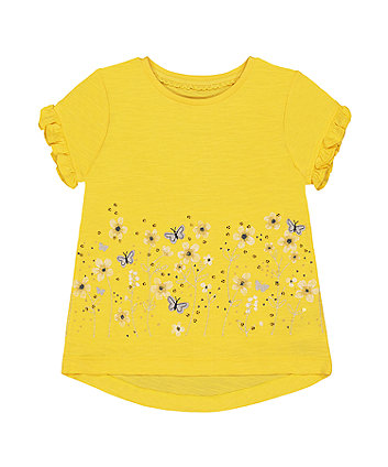Mothercare Yellow Border Flower T-Shirt