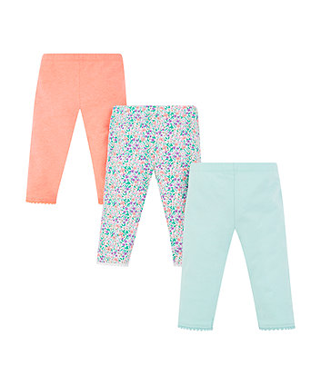 Mothercare Coral, Floral And Blue Cropped Leggings - 3 Pack