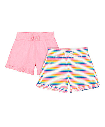 Mothercare Neon Stripe Shorts - 2 Pack