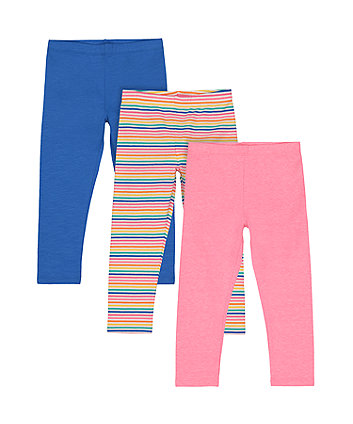 Stripe, Blue And Neon Pink Leggings - 3 Pack