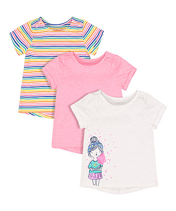 Glitter Candyfloss, Neon Pink And Stripe T-Shirts - 3 Pack