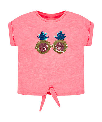 Mothercare Pink Glitter Pineapple Sunglasses T-Shirt