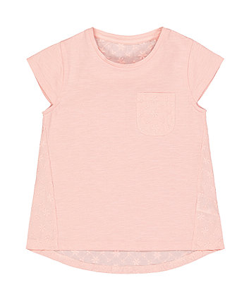 Pink Broderie Lace Pocket T-shirt