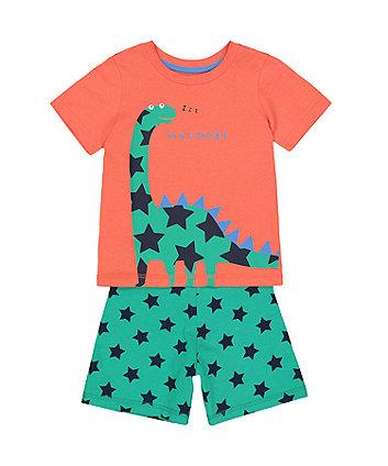 Dinosaur And Stars Shortie Pyjamas