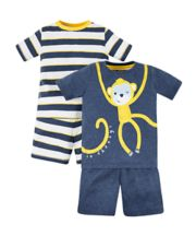 Monkey And Stripe Pyjamas - 2 Pack