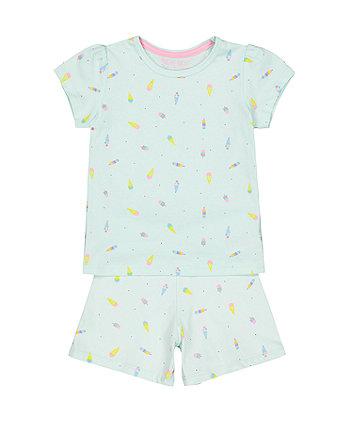 Ice Cream Green Shortie Pyjamas