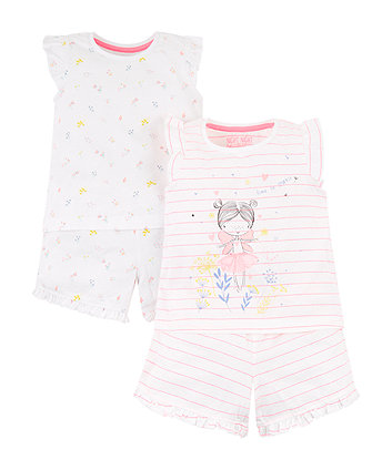 Neon Pretty Girl And Flower Shortie Pyjamas - 2 Pack