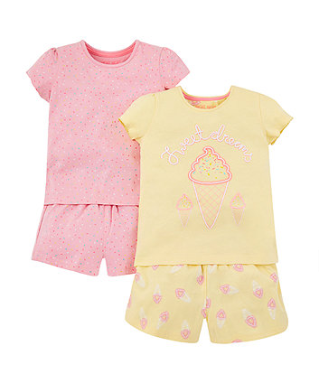 Mothercare Ice Cream And Sprinkles Shortie Pyjamas – 2 Pack