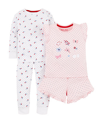 Floral White And Butterfly Pink Pyjamas - 2 Pack