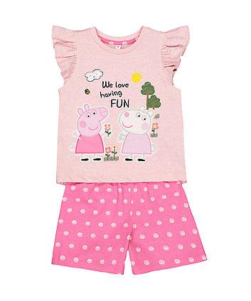 Mothercare Peppa Pig Pink Shortie Pyjamas