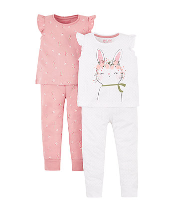 Bunny And Floral Pyjamas - 2 Pack