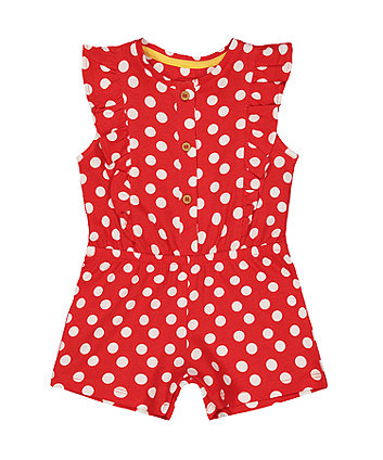 Mothercare Red Polka Dot Playsuit