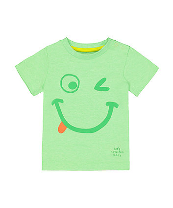 Mothercare Green Smiley Face T-Shirt