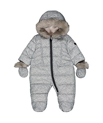 Mothercare Grey Marl Padded Snowsuit