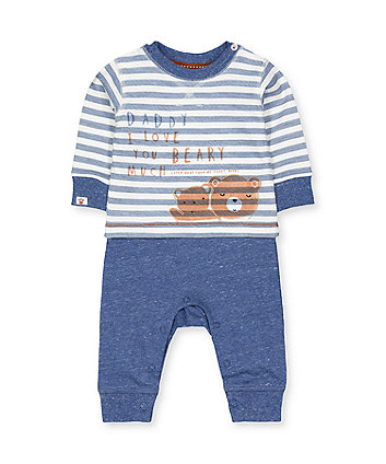 Mothercare Blue Daddy Bear Mock Top All In One