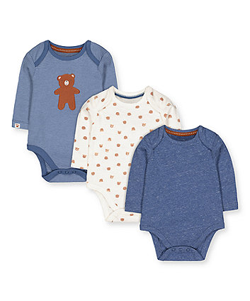 Mothercare White And Blue Bear Bodysuits - 3 Pack
