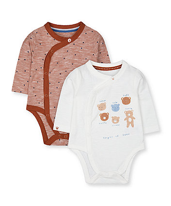 Mothercare Cream Teddy Bear Bodysuits - 2 Pack