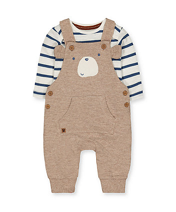 Mothercare Bear Dungarees And Stripe Bodysuit Set