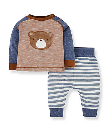 Mothercare Brown Bear T-Shirt And Blue Stripe Joggers Set