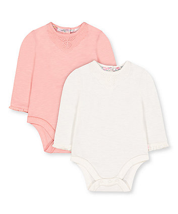 Mothercare Pink And White Frill Lace Bodysuits - 2 Pack