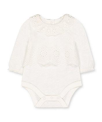 Mothercare White Broderie Mock Blouse Bodysuit